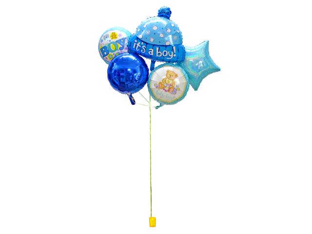 Balloon Gift - New Born Baby boy helium balloon X5 - L156104 Photo