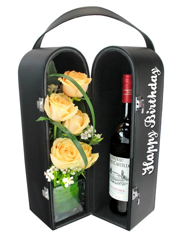 Birthday Present - Birthday Wine Hamper with Flower 31 - L135853B Photo