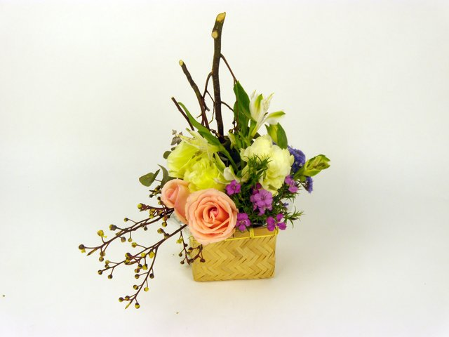 Florist Flower Arrangement - Basket of Cheer - P7007 Photo