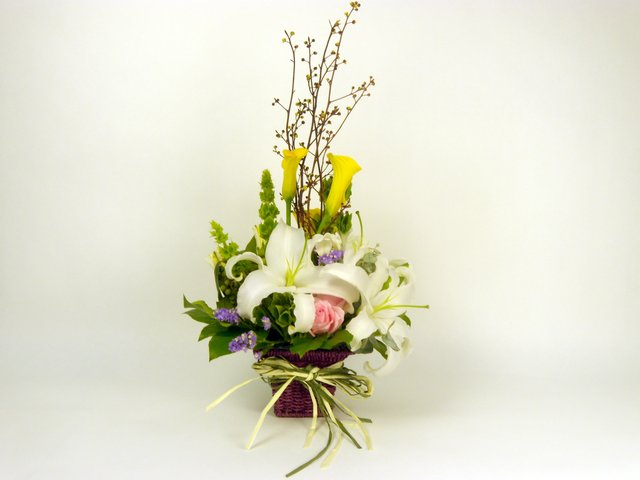 Florist Flower Arrangement - Whispering Callas - P6808 Photo