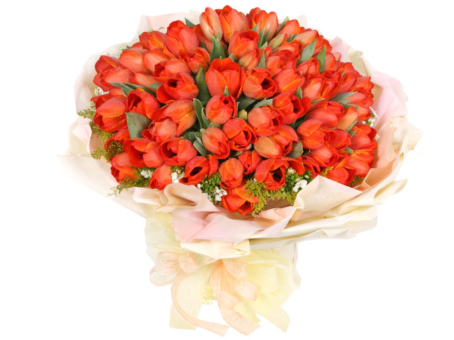 Florist Flower Bouquet - Big Orange (99 Tulips Bouquet) - P0658 Photo