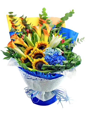 Florist Flower Bouquet - Graduation Flower Bouquet Sun Flower 3 - L144718 Photo