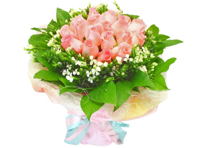 Florist Flower Bouquet - Just Peachy x 18 Bouquet - L16508 Photo