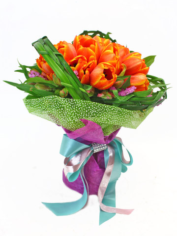 Florist Flower Bouquet - Orange Tulips x18 Bouquet - L37275 Photo