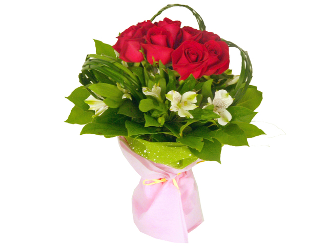 Florist Flower Bouquet - Red Hearts Bouquet - P6793 Photo