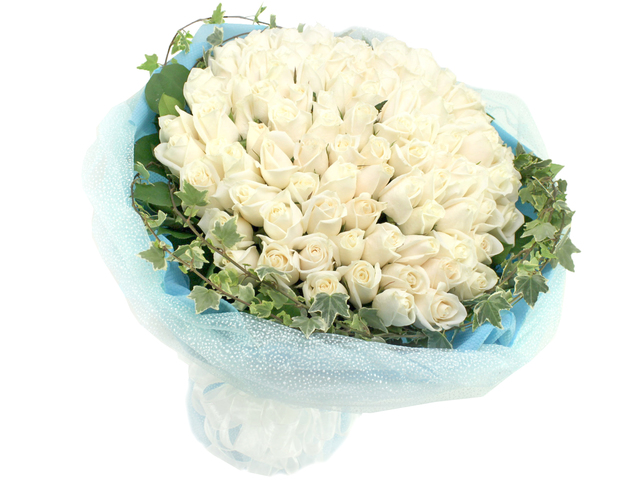 Florist Flower Bouquet - Snow White (99 Rose Bouquet) - L06832 Photo