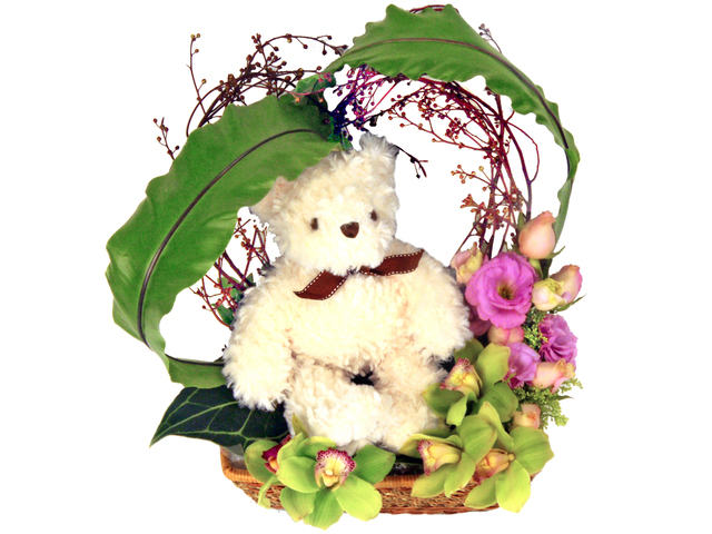Florist Flower Bouquet - Teddy Basket / Brithday Gift - P5921 Photo
