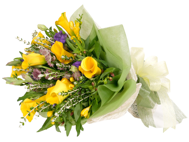 Florist Flower Bouquet - Yellow Calla Bouquet - P0570 Photo