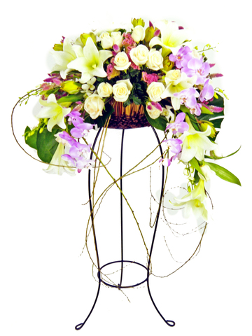 Flower Basket Stand - Purple Blessings flower basket - P2651 Photo