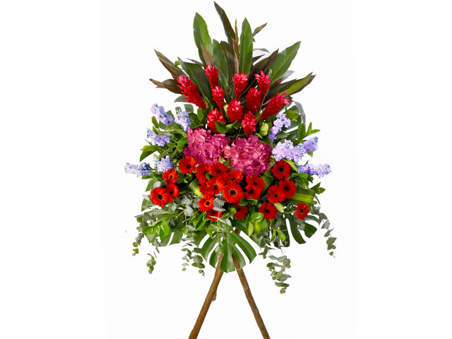 Flower Basket Stand - Reddish Opening Flower Stand - L84428 Photo