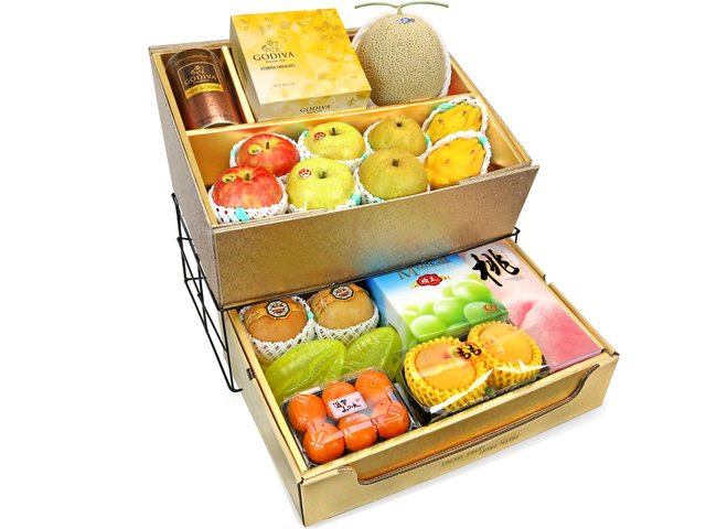 Fruit Basket - Mid Autumn Double Deck Fruits Gift Tower D13 - 0DP0716F9 Photo