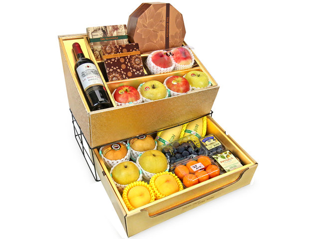 Fruit Basket - Mid Autumn Double Deck Peninsula MoonCake Fruits Gift Tower D10 - 0DP0716F7 Photo