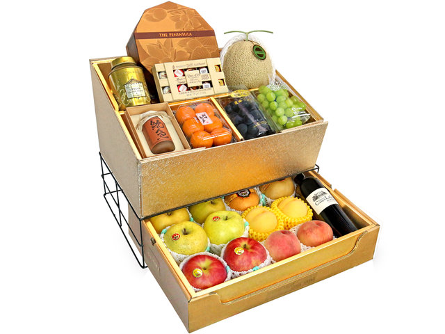 Fruit Basket - Mid Autumn Double Deck Peninsula MoonCake Fruits Gift Tower D11 - 0DP0714E7 Photo