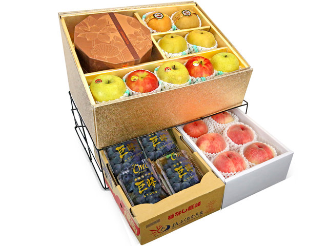 Fruit Basket - Mid Autumn Double Deck Peninsula MoonCake Fruits Gift Tower D15 - 0DB0618D1 Photo