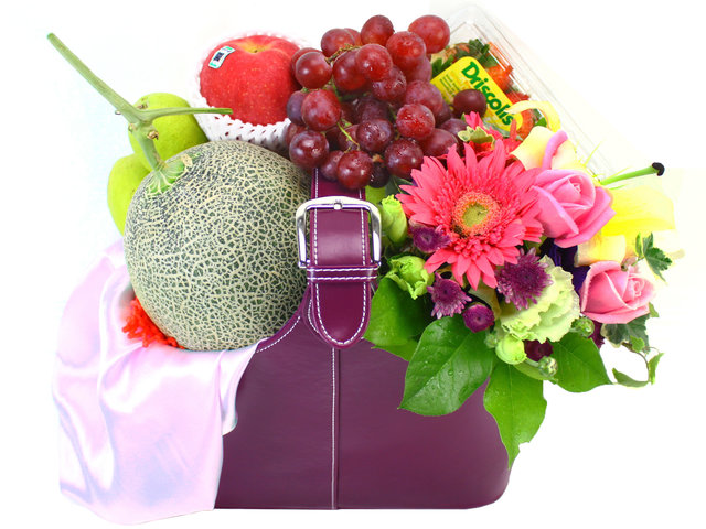 Fruit Basket - Tall Leather Fruit Hamper & Flower - L10234 Photo