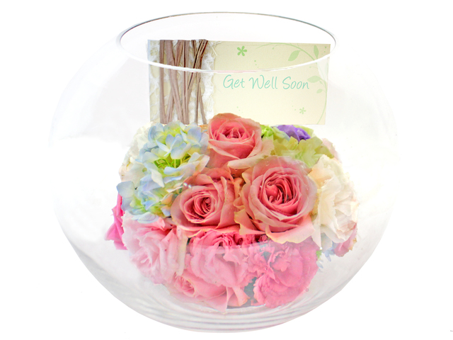 Get Well Soon Gift - Classical Glass Florist Vase BL01 - L177913 Photo