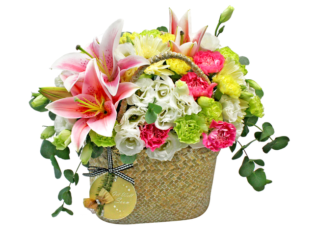 Get Well Soon Gift - Pink lily basket 01 - L0194335 Photo