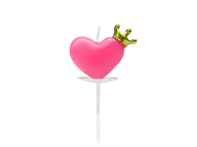 Gift Accessories - Candle - Heart shape in pink with crown - L36668975 Photo