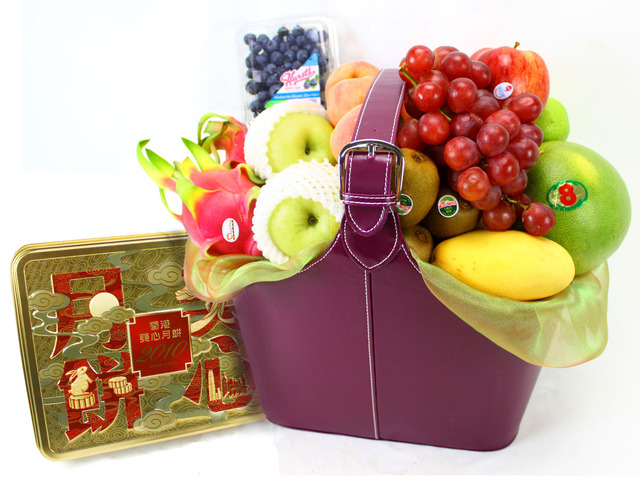 Mid-Autumn Gift Hamper - (7) Mid-Autumn Maxim Moon Cake Fruit Tall Gift Leather - L11451 Photo