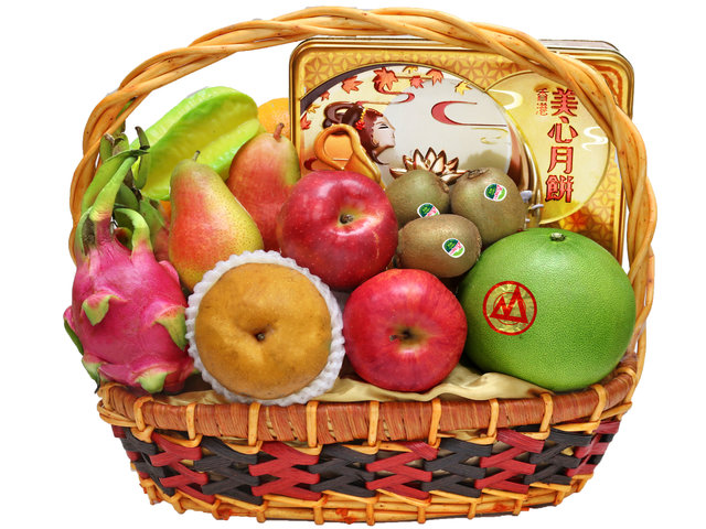 Mid-Autumn Gift Hamper - Maxim Moon Cake Fruit Gift Basket M37 - L140534 Photo