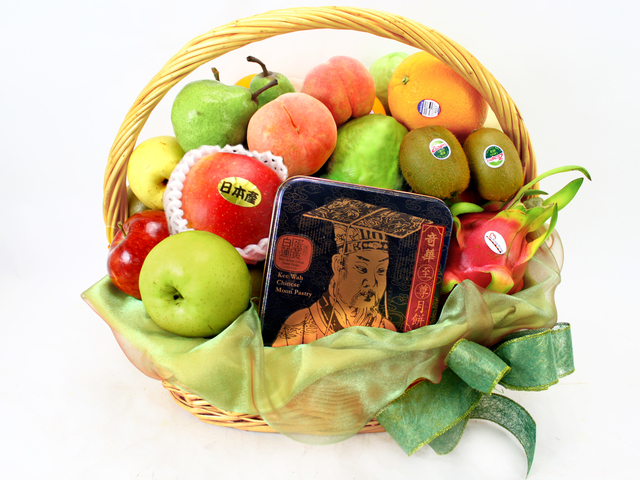 Mid-Autumn Gift Hamper - Mid-Autumn KeeWah Moon Cake Fruit Gift Basket (3)  - L11436 Photo