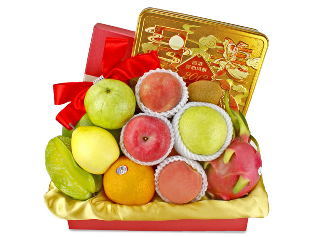 Mid-Autumn Gift Hamper - Mid-Autumn Maxim Moon Cake Fruit Gift Basket H5 - L89644 Photo