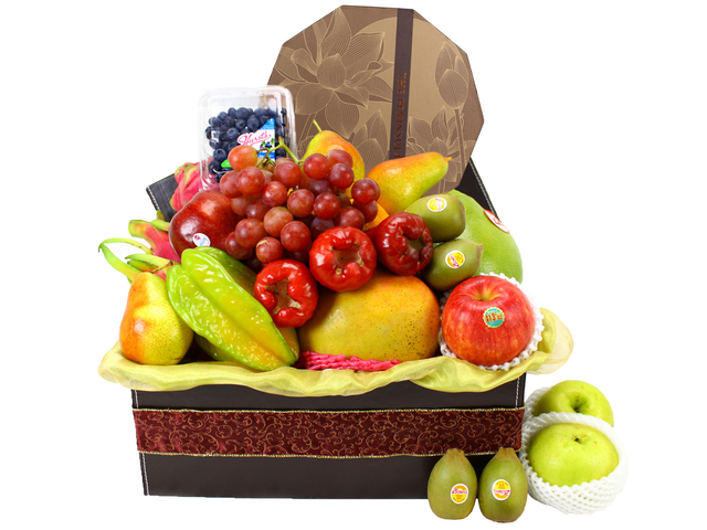 Mid-Autumn Gift Hamper - Mid-Autumn Peninsula Egg Yolk Moon Cake Delux Fruit Gift Leather (5)  - L11432 Photo