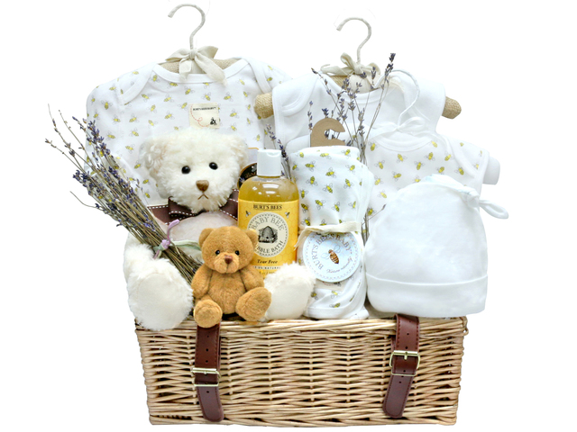 New Born Baby Gift - Burt's Bee Baby organic gift basket - L36668403 Photo