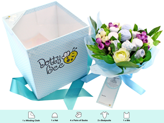 New born baby gift dotty bee baby gift bouquet boy l116622 new born baby gift dotty bee baby gift bouquet boy l116622 photo negle Choice Image