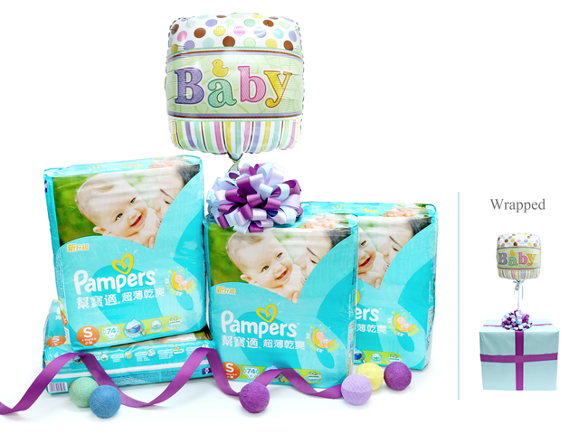 New Born Baby Gift - Pampers diapers baby gift box - L36668791 Photo