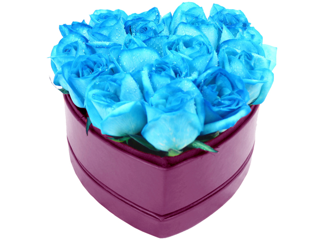 Order Flowers in Box - Blue Roses heart shape box - L33605 Photo