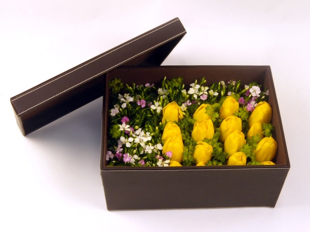Order Flowers in Box - Tulips Delight - P6061 Photo
