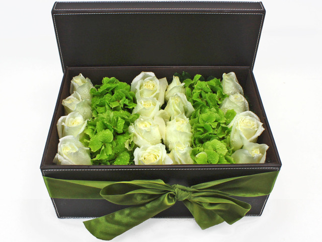 Order Flowers in Box - White Roses Green Hydrangea Box Flower - L34951 Photo