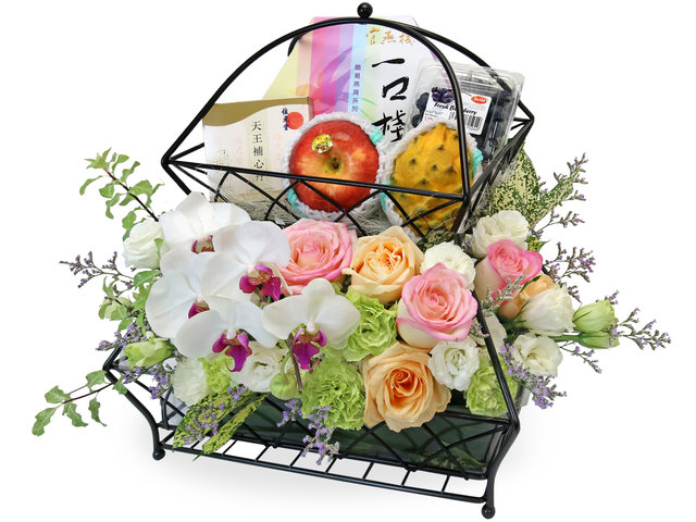 Wine n Food Hamper - Fruit and flower recovery gift basket - L71610724 Photo