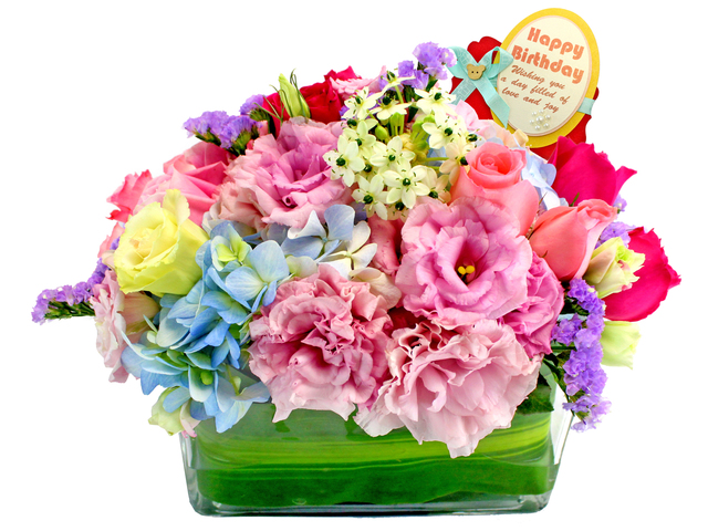 Birthday Present - Desktop Flower Basket 2 - L107639 Photo