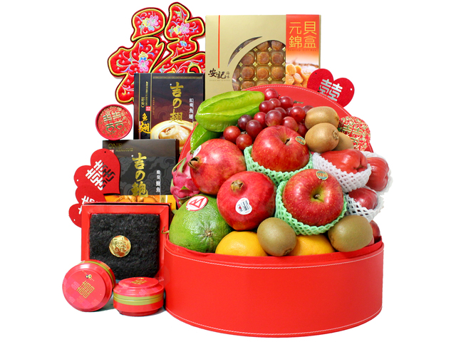 Chinese Bridal Basket - Chinese Style Dried Seafood & Fruit Gift Basket T27 - L36510928 Photo