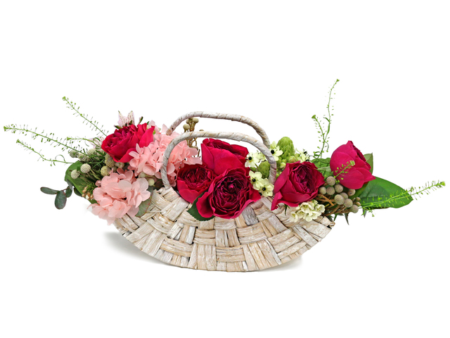 Florist Flower Arrangement - Deep pink rose basket 5 - L76605630 Photo