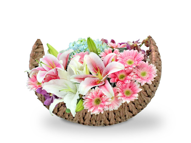 Florist Flower Arrangement - Lilies  Florist basket Decor P2 - L36514182 Photo