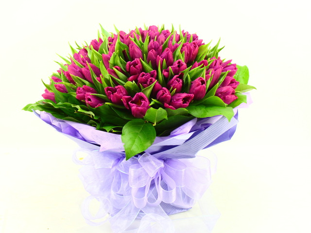 Florist Flower Bouquet - Delightful (99 Tulips Bouquet) - B2977 Photo