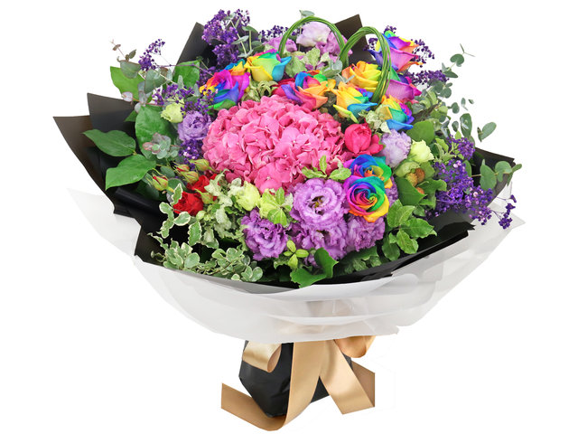 Florist Flower Bouquet - Flower Shop Rainbow Rose Bouquets RB66 - BL0217A2 Photo