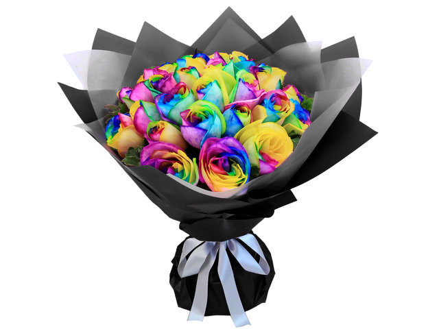 Florist Flower Bouquet - Flower Shop Rainbow Rose Bouquets RB88 - BL0514A1 Photo