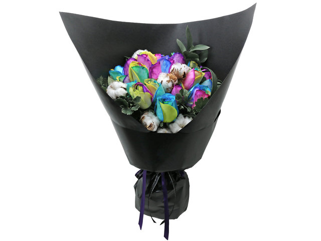 Florist Flower Bouquet - Rainbow Rose RB06 - L76604528 Photo