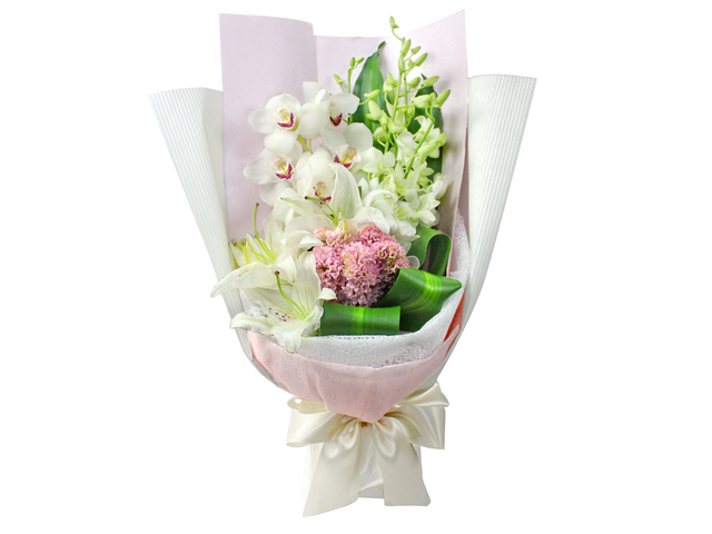 Florist Flower Bouquet - White Cymbidium bouquet 01 - L0199225 Photo