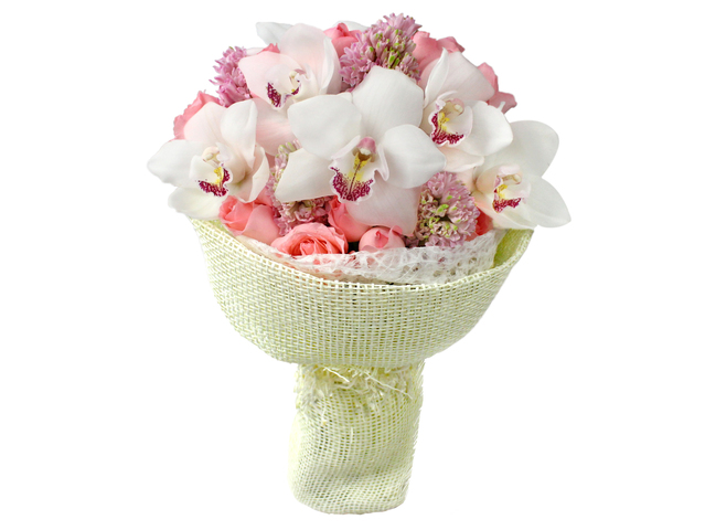 Florist Flower Bouquet - White Cymbidium bouquet02 - L0199134 Photo