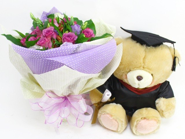 Florist Gift Set - Roses Graduation Flower Teddy Combo - L07570 Photo