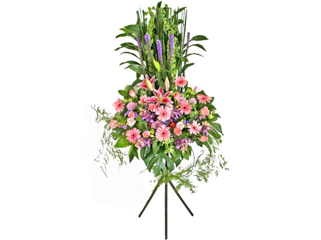 Flower Basket Stand - Pink Lady flower basket 2 - L50729 Photo
