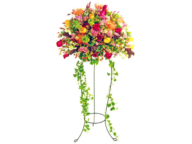 Flower Basket Stand - Rainbow Spray flower basket - P2552 Photo