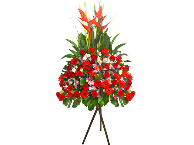 Flower Basket Stand - Red Star flower basket II - L41165 Photo
