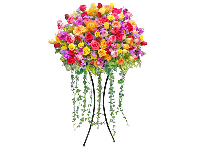 Flower Basket Stand - Showers of Delight flower basket - P6237 Photo