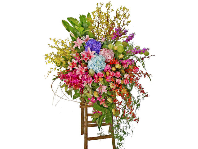 Flower Basket Stand - The bright Garden Opening Flower Baskets B1 - L80265 Photo
